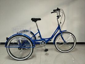 "Adults tricycle, folding frame, 24"" wheels, 6-speed shimano gears, from BuyTricycle, trikes"