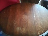 Solid oak oval drop leaf dining table,W107cm, L150cm, H73cm