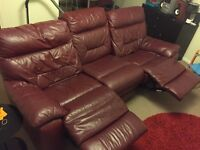DFS 3 & 1 Seater Cherry Black (Red) Leather Sofa Suite (Mint Condition)