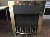 ELECTRIC FIRE WITH GOLD SURROUND IN MINT CONDITION