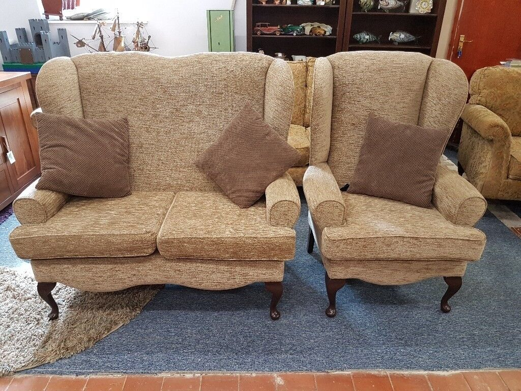 Excellent Quality And Condition Two Seater Wingback Sofa Matching Chair