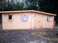 25 x 10FT LARGE APEX GARDEN SHED HEAVY DUTY SHIP LAP TIMBER DOUBLE DOORS FULLY ASSEMBLED BRAND NEW
