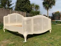 Marvellous John Lewis Sophia Ivory Rattan King Bed Frame –- French Style – Great Condition
