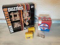 Brain Busting Puzzles incl Classic Wooden Blocks & Bedlam Cube