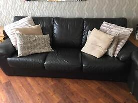 Brown leather 3 seater (sofa bed)and 2 seater