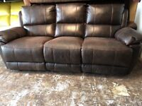 REAL LEATHER SOFA RECLINER LIKE BRAND NEW