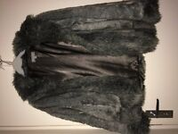 MARKS + SPENCER FAUX FUR GREY COAT, SIZE MEDIUM (SIZE 10-14), IN EXCELLENT CONDITION