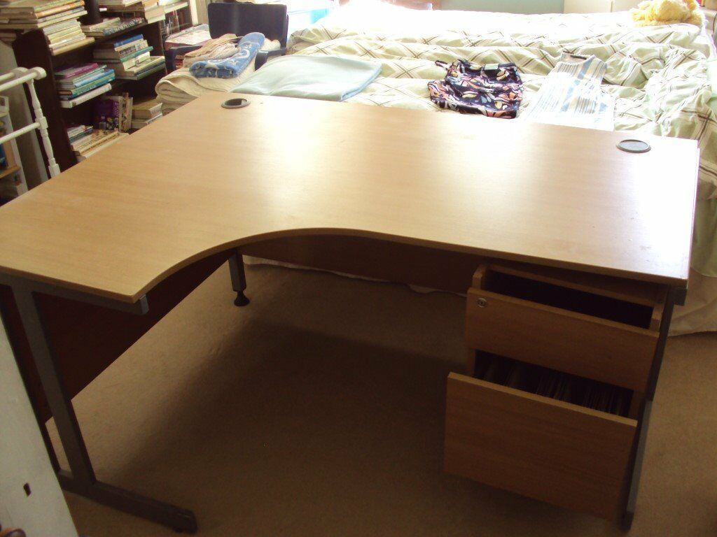 L Shaped Oak Coloured Office Desk With 2 Drawers In Knowle