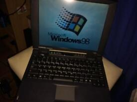 Vintage fully working laptop with bag