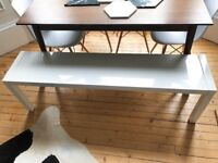 Hardly used white gloss dining bench