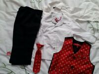 Boys red and black suite size 12-18 months