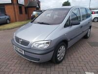 VAUXHALL ZAFIRA 1.6 CLUB 7 SEATER (02) in SILVER, VERY LOW MILES