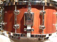 "Brady Stave construction Jarrah snare drum 14 x 6 1/2"" - early model - Australia - '80s"