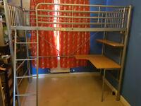 Metal Cabin High sleeper bed/desk with wheelie desk chair