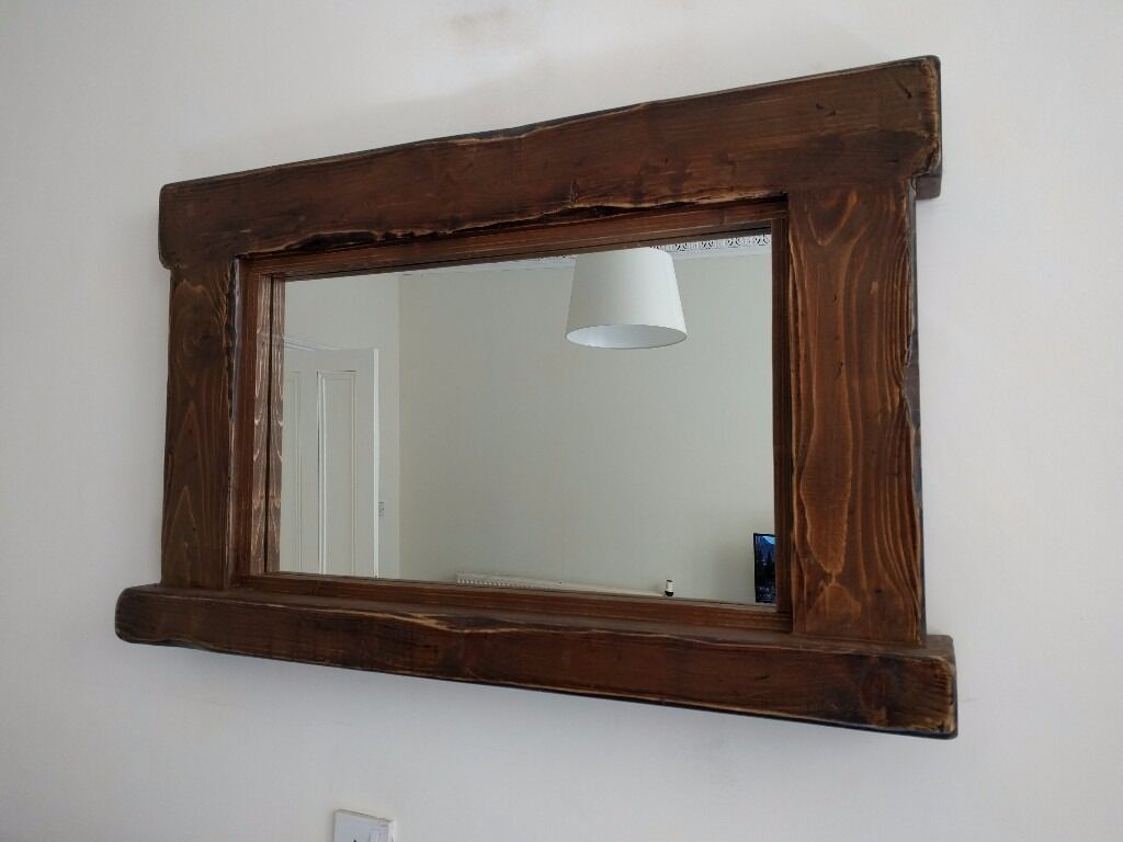 Large rustic wood framed mirror and shelf in southside for Wood framed mirrors