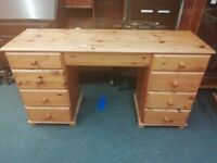 Long Large Wooden Desk With 8 Draws