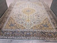 Extra Large Beige Tone Hand Woven Persian Rug Kashan 400x305