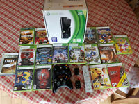IMMACULATE XBOX 360 16 GAMES 2 CONTROLLERS 2 RECHARGABLE BATTERY PACKS MEDIA REMOTE & ORIGINAL BOX!