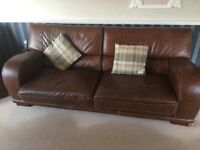 Triple Seater Sofa + 2x Arm Chairs - Italian Frame - Real Leather - Brown