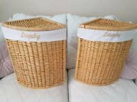 WICKER CORNER LAUNDRY BASKET X2 Available £20 Each