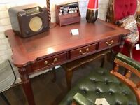 Vintage Victorian style desk with reeded legs & leather inset