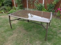 Large Glass Topped Garden/Patio Table, 170cm x 110cm