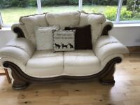 Leather Suite cream 3 seater 2 seater and armchair can be viewed BS30