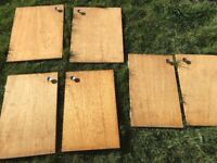 3 sets of wood cupboard doors with handles and hinges