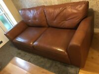 2 seater leather sofa. 195cm width, 95cm depth