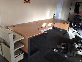 Office desk. Metal legs with beech effect top.
