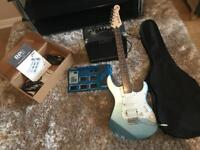 Electric Guitar, Digi Tech Effects Pedal and Amp