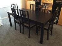 IKEA extending dining table and 6 chairs