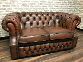 2 Seat Chesterfield Sofa in Brown