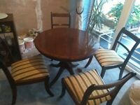 For sale dark wood table and chairs