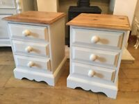 Pair of Solid Pine Painted Bedside Cabinets