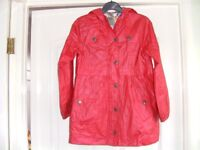 Red summer coat with hood