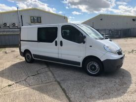 Vauxhall Vivaro long wheel base double cab crew van seats 6 with plylined load space.