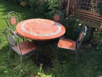 Beautiful dining garden table witch 4 chairs, Very fine work of ceramic and cast iron!!