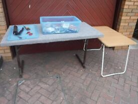 Two car boot tables a box of odds