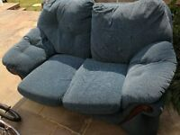Fabric 2 Seater Sofa and Armchair in blue