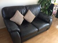 Comfy Two Seater Leather Sofa & Single bed with mattress Used