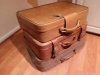 3 x Leather suitcases like new