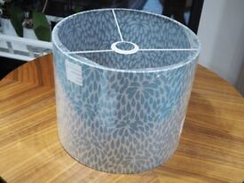 Large Blue Floral Fabric Lampshade