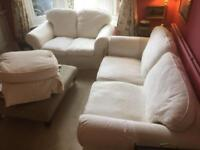 cream 3 seater / 2 x 2 seater sofas & foot stool for sale Can deliver.