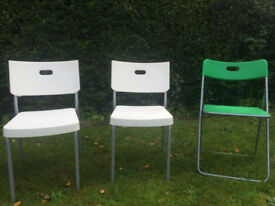 Ikea chairs. 2 x white stackable and 1 green folding