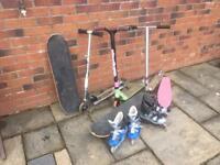Scooters skateboards roller blades