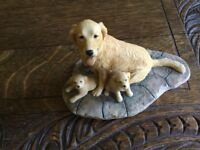 Model of a Labrador with two puppies, handmade in Scotland