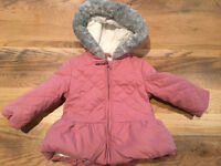 John Lewis Baby Quilted Hood Jacket, Pink (3 - 6 Months)