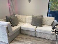 Corner white Rattan sofa