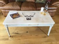 Large Beautiful Coffee Table Up Cycled With Stag Deer